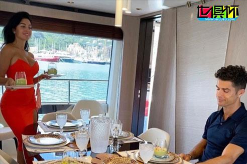C罗社交平台上发图秀恩爱,身穿红裙的乔治娜格外的亮眼。