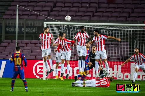 巴萨主场2-1胜毕尔巴鄂,梅西打入巴萨生涯第650球