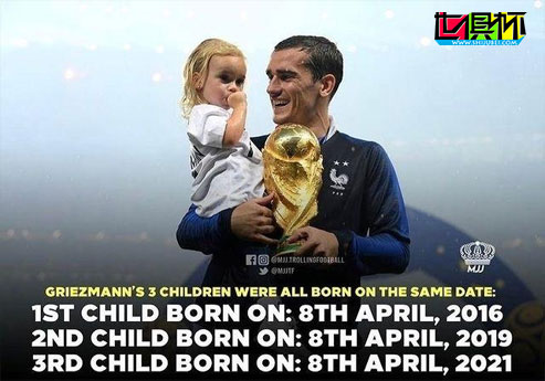 巴萨前锋格列兹曼喜得小女儿,有趣的是3个孩子都是4月8日出生-第1张图片-世俱杯