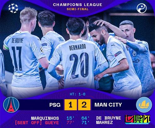 欧冠半决赛首回合,曼城客场2-1逆转击败巴黎圣日耳曼